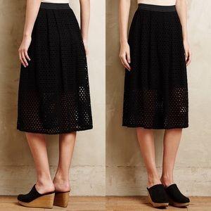 Black Weston Laser Cut Midi Skirt